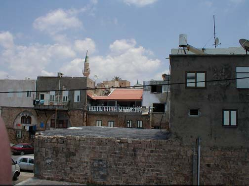 Acre - عكا : Abu Hassan Marey's house on the west side of the city with Almajadleh mosque in the background