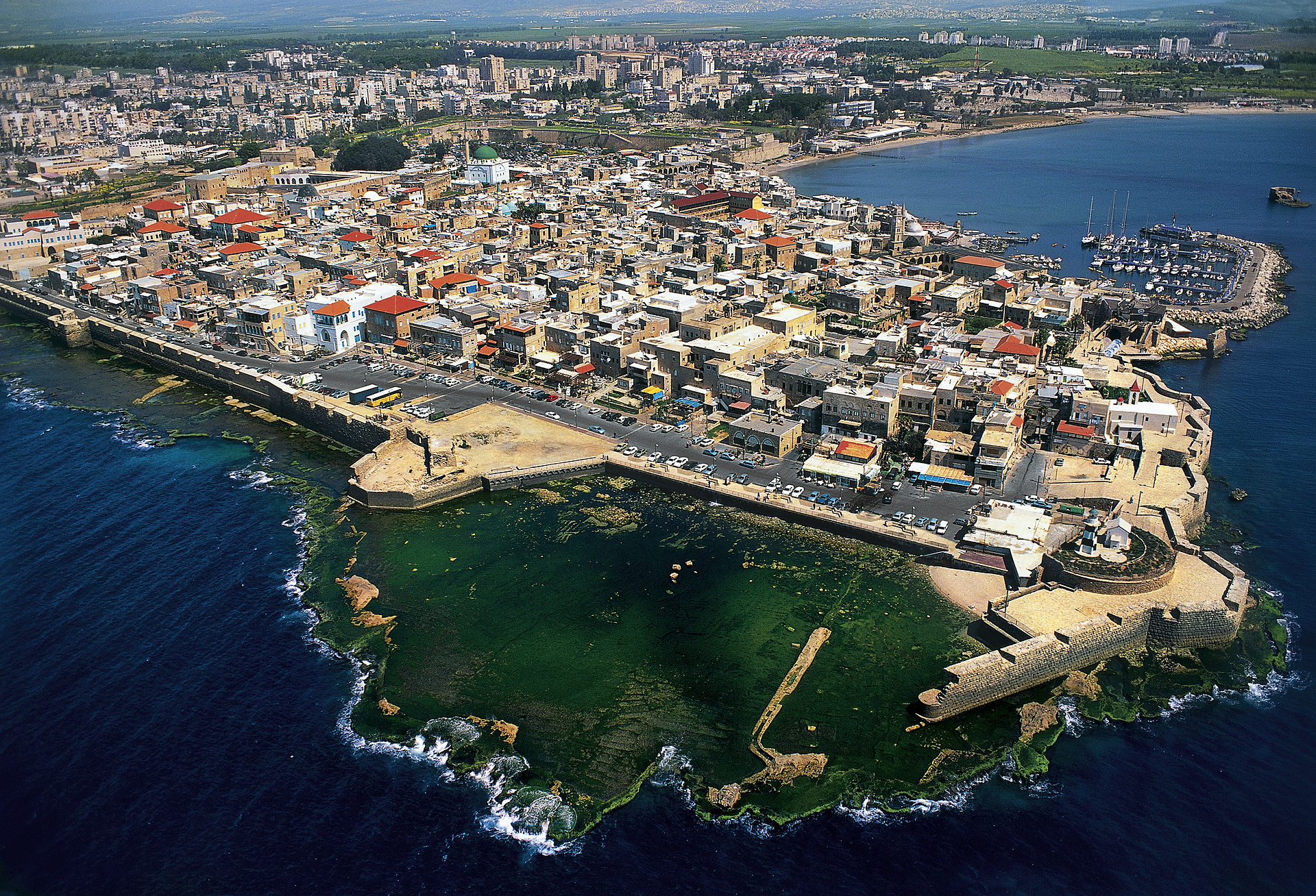 Acre - عكا : Aerial view of Acre (Akka in arabic) looking north