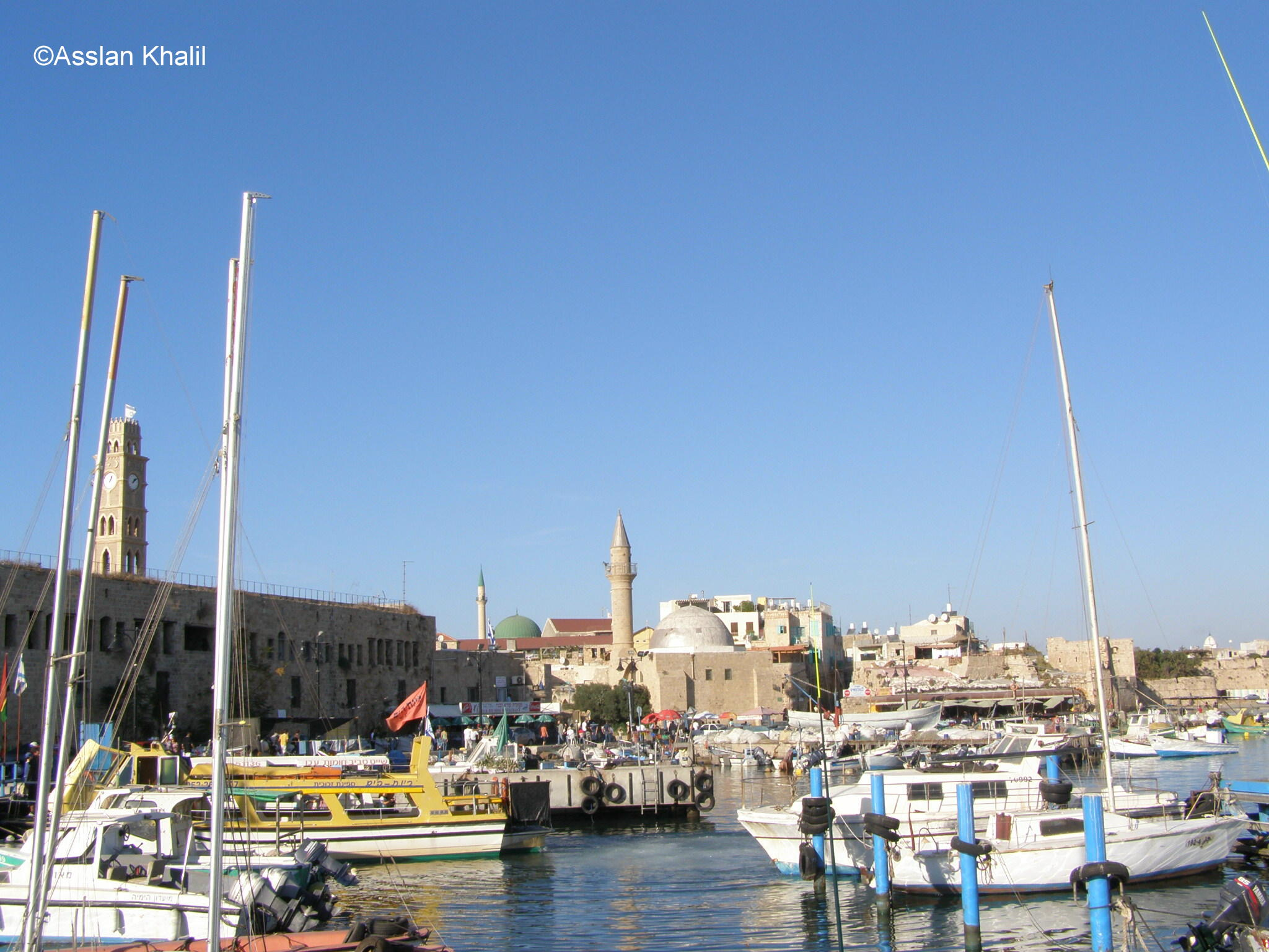 Acre - عكا : The Port and Mosque and Clock Tower