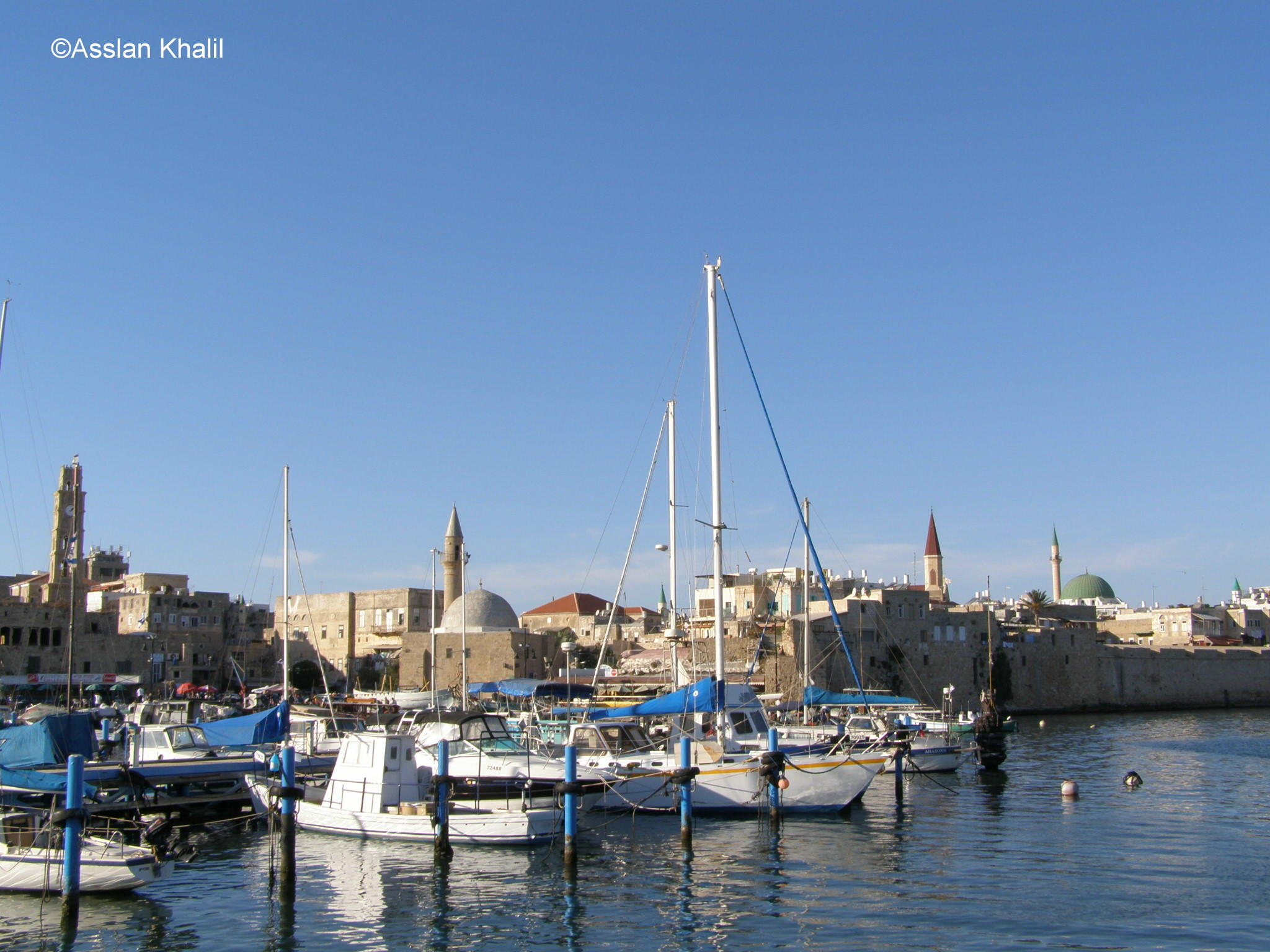Acre - عكا : The Mosques and Clock Tower and Church from the Port View