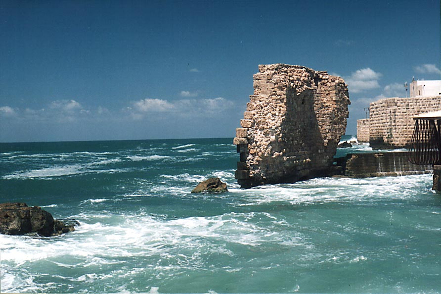 Acre - عكا : Old ruins of Akka's sea walls (photo 2000).
