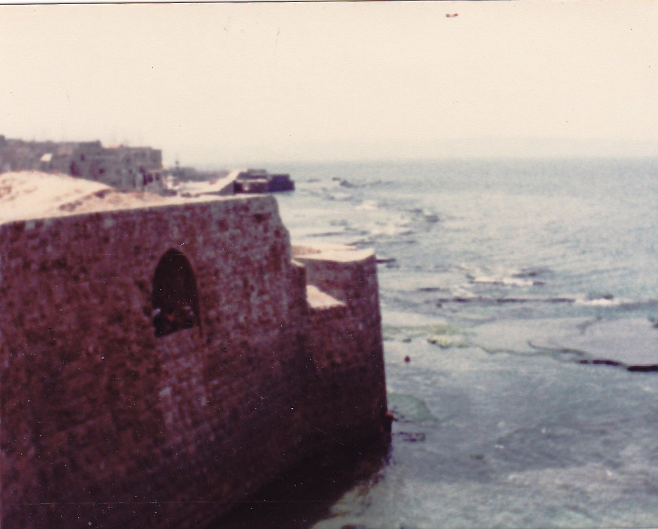Acre - عكا :  The sea and the wall of Acre on Monday August 1 , 1983