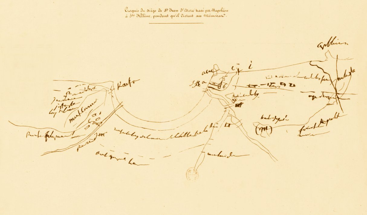 Acre - عكا : ACRE - Sketch of the Siege of Acre plot by Napoleon in St. Helena while he dictated his memoirs (Per Reem Ackall)