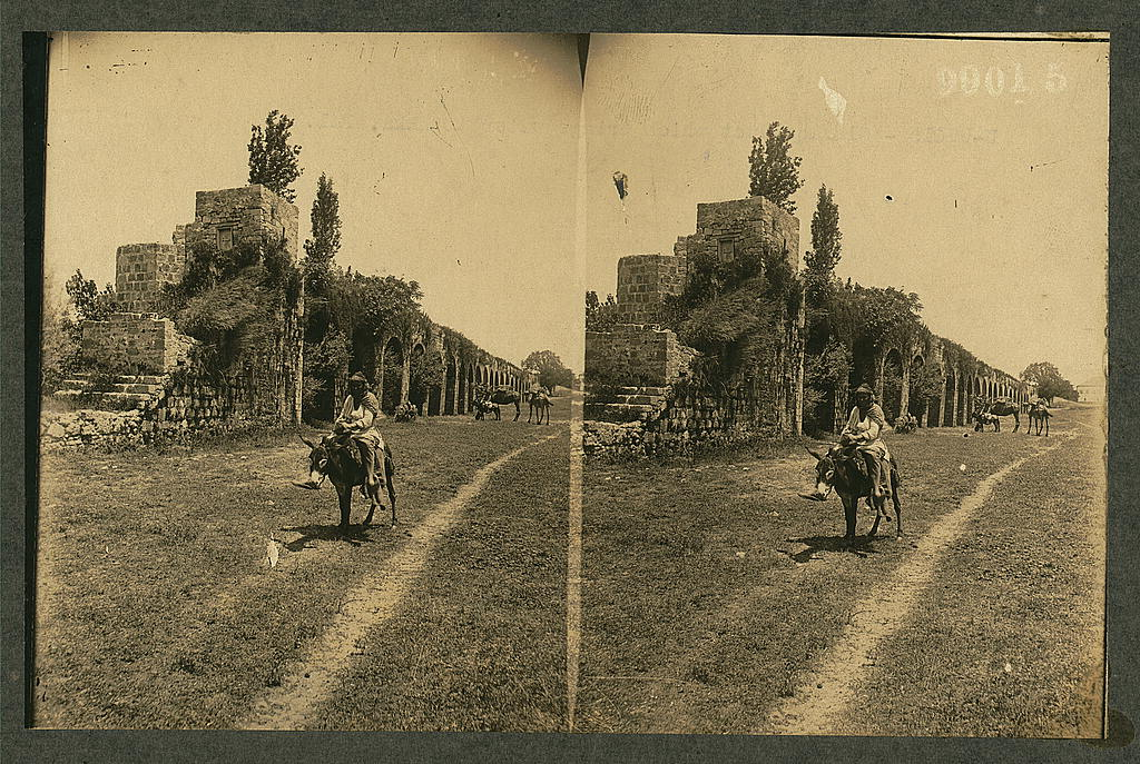 Acre - عكا : Old aqueduct which brought  water to Akka c1911 May 22
