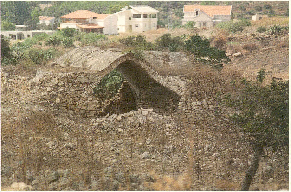 al-Birwa - البروه : al-Birwa's destroyed Olive Press in 1995 (scanned from al-Masharef Journal No. 3, Haifa), and in the background you can see the houses of the Israeli Jewish settler built on stolen lands