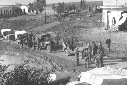 al-Faluja - الفالوجة :  A view of  al-Faluja (Gaza) soon after its occupation in March 1949, and in the background its school clearly can be seen.  Currently, al-Faluja's refugees live in Gaza, who often rocket their usurped homes in Israel.