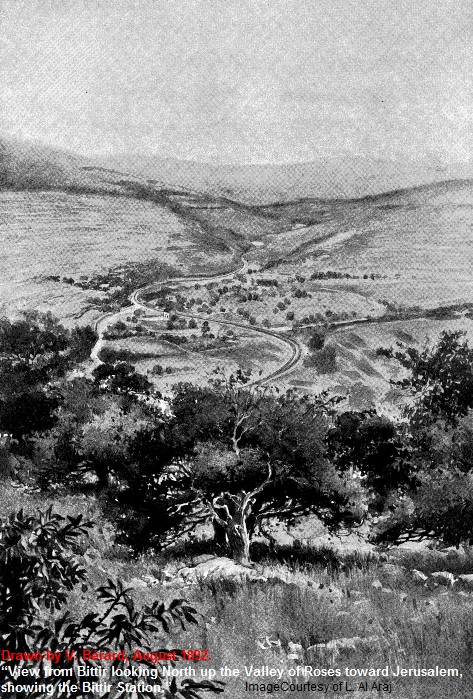 Battir - بتّير : Battir Paint -View from Bittir looking North up the Valley of Roses toward Jerusalem, showing the Bittir Station in 1892