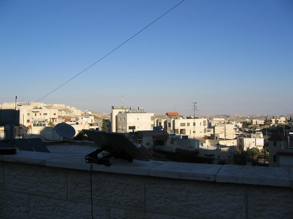 Bethlehem - بيت لحم : Rooftop view, HarHoma can be seen on the top left hand side.