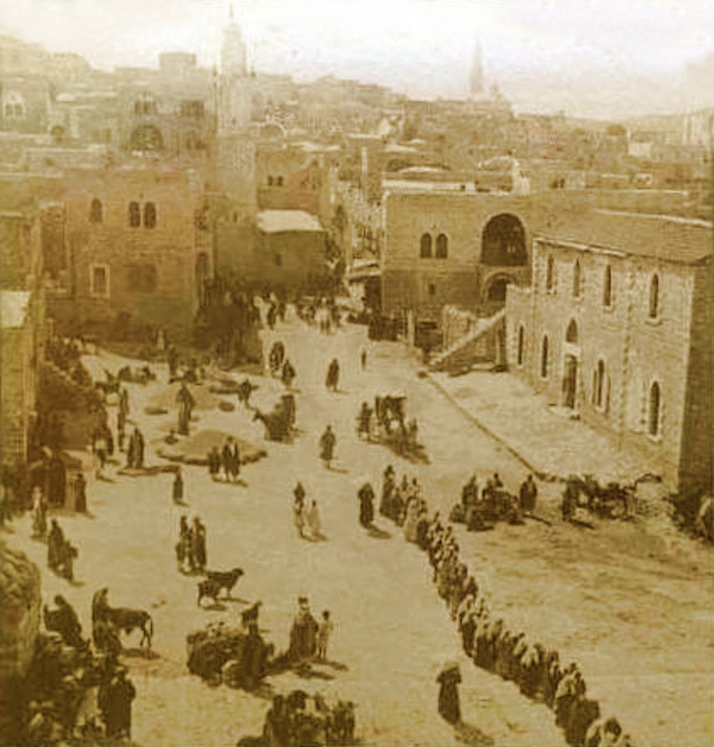Bethlehem - بيت لحم : PALESTINE - Bethlehem, 1890s (early 20th c.) 57 - Wheat and barley harvest displayed in the centre of bethlehem