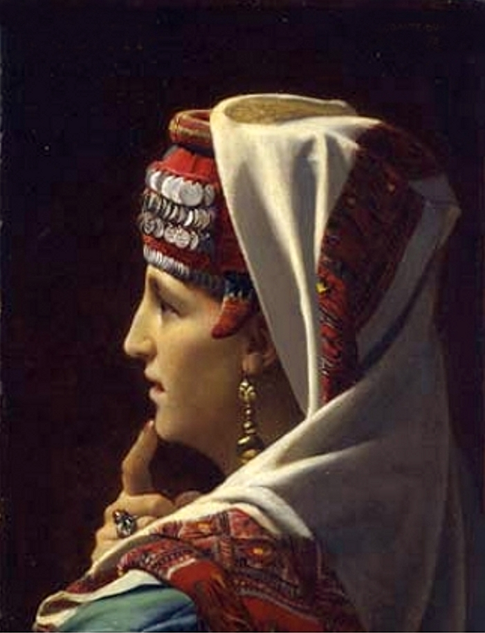 Bethlehem - بيت لحم : Women of Bethlehem 115 (late 19th, early 20th c.) - A married Arab woman of Bethlehem wearing Shatweh - Painting by Jean du Nou ÿ(Judith, 1875) (