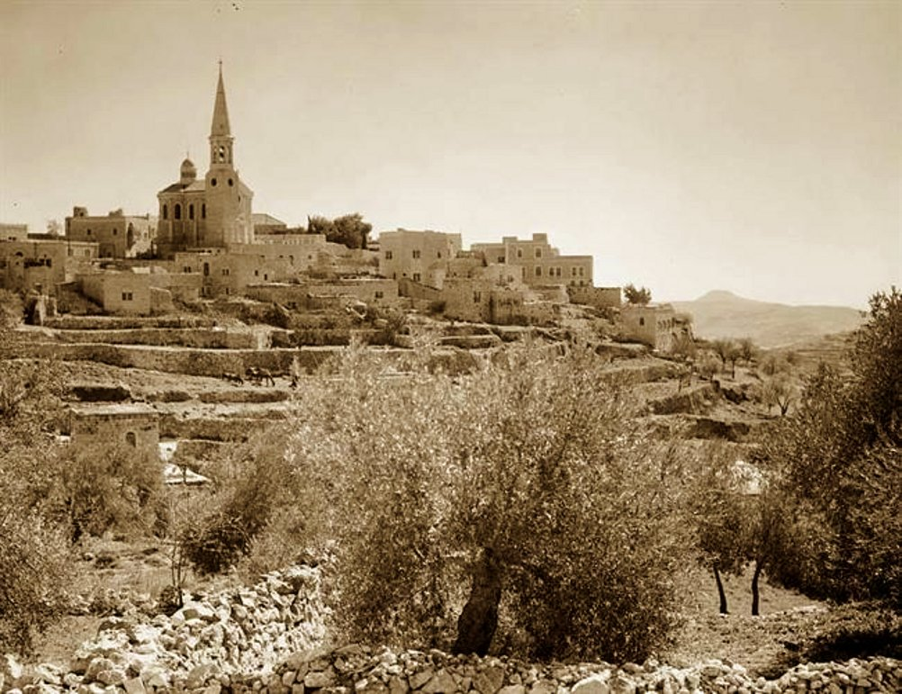 Bethlehem - بيت لحم : PALESTINE - Bethlehem, 1890s (early 20th c.) 124 - Bethlehem hillside with German Lutheran church (Per Reem Ackall)