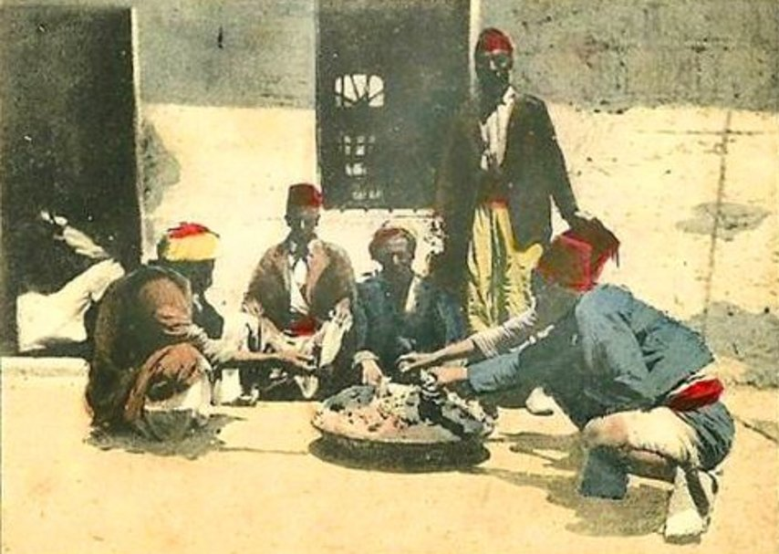 Bethlehem - بيت لحم : PALESTINE - Bethlehem, 1890s (early 20th c.) 159 - partaking of an Arabic meal of rice and lamb, circa 1900s (Per Reem Ackall)
