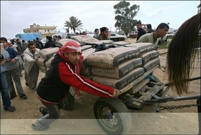 Gaza Jail Break - فك طوق الأسر عن اهل غزة : Cement is Palestine people's weapon of mass destruction. From Israeli and American points of view, when a Palestinian survive, he resists, and if he resists it is terror. Solution is the final soultion: Slow death=starvation=humiliation