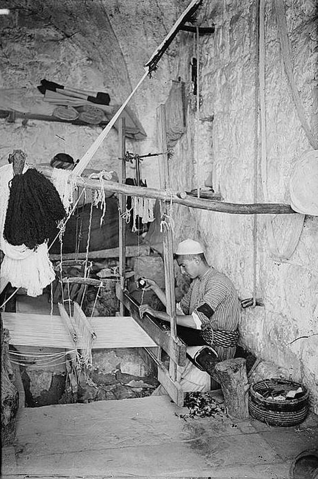 Hebron - الخليل : Hebron - Late 19th, early 20th c. - 28 - weaving cloth for abayas