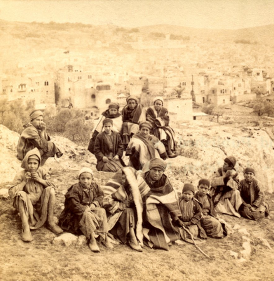 Hebron - الخليل : Hebron - Late 19th, early 20th c. - 53 - A group of Palestinian Arabs in field outside Hebron, circa 1899