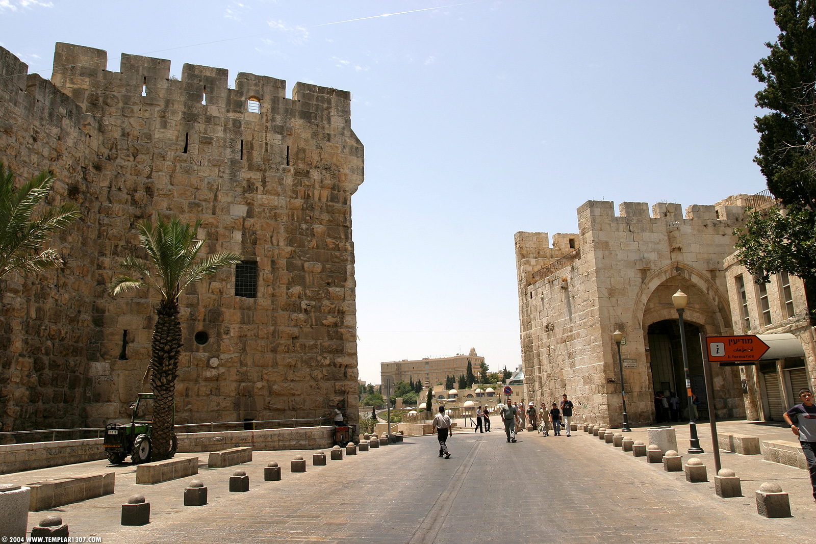 Jaffa Gate - باب الخليل : From inside the gate looking west, King David can be clearly seen in the middle of the picture