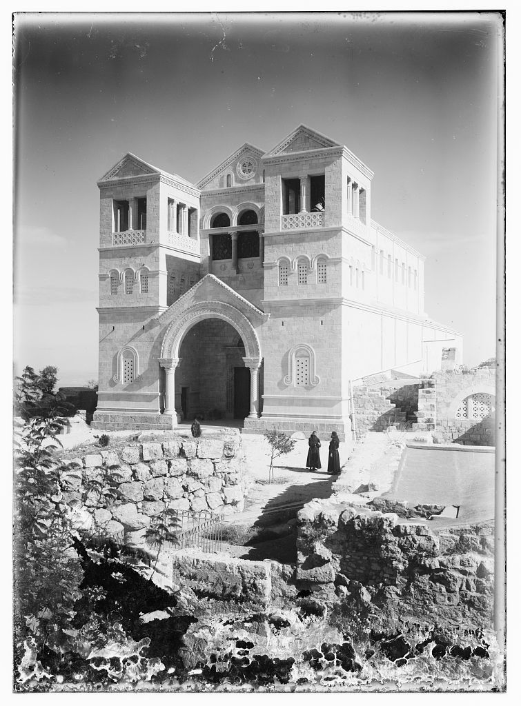 Mt. Tabor - جبل طابور : The Monastery as it is being built, Matson collection