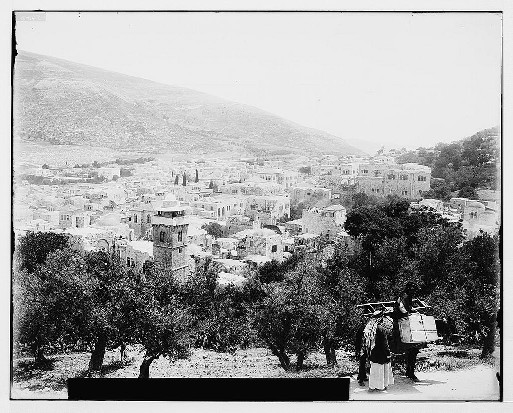 Nablus - نابلس : General view, Matson collection. (before 1920)