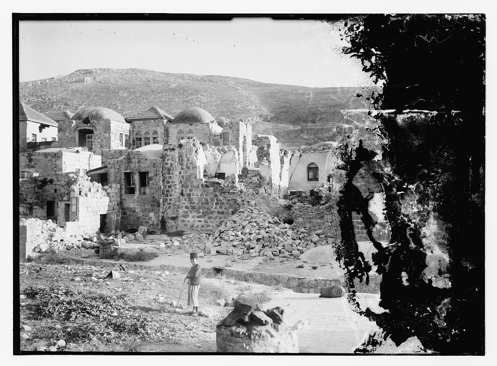Nablus - نابلس : The aftermath of the earthquake that hit Palestine in July 1927, Matson collection.
