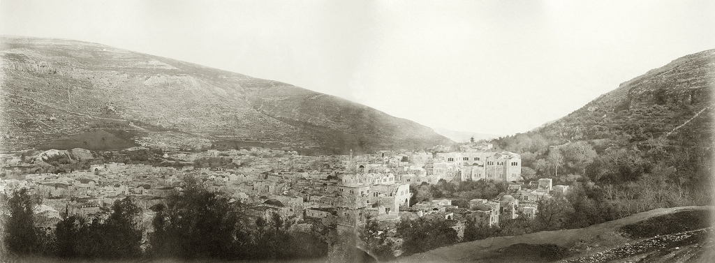 Nablus - نابلس : General view of the town of Nablus from the west. Late 19th, early 20th c. (PE Fund)
