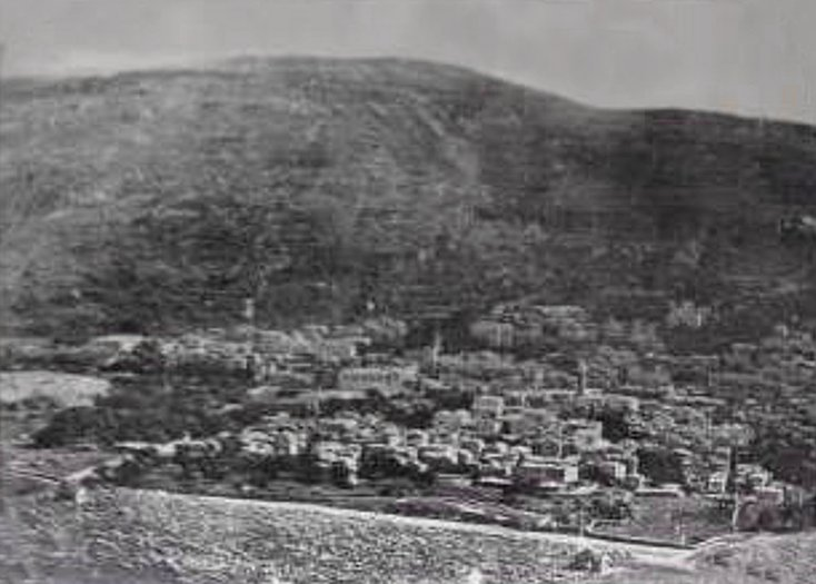 Nablus - نابلس : NABLUS - Late 19th, early 20th c. 5 (Mt. Ebal at sunset, 1920s)