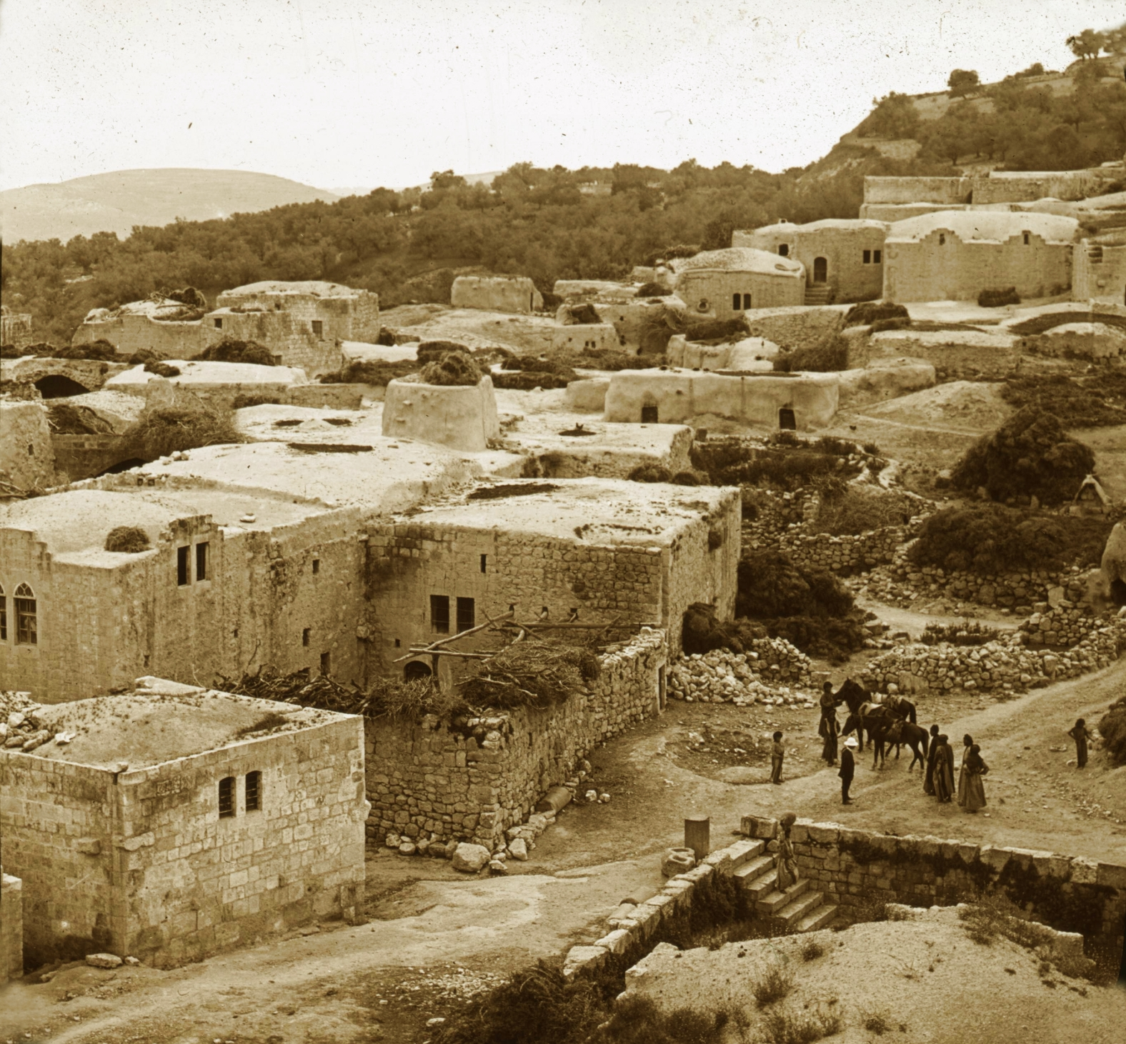 Nablus - نابلس : NABLUS - Late 19th, early 20th c. 38 - Sabastiya from the Minaret of Mosque