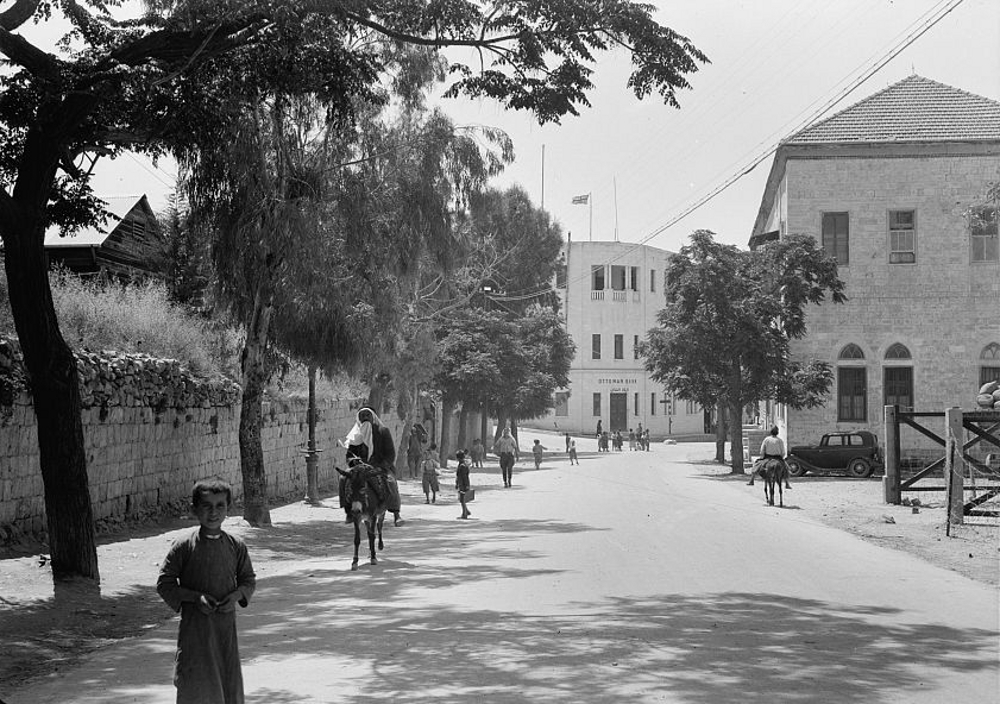 Nablus - نابلس : NABLUS - New Main Street, showing Ottoman Bank june 12 1942 (Matson collection)