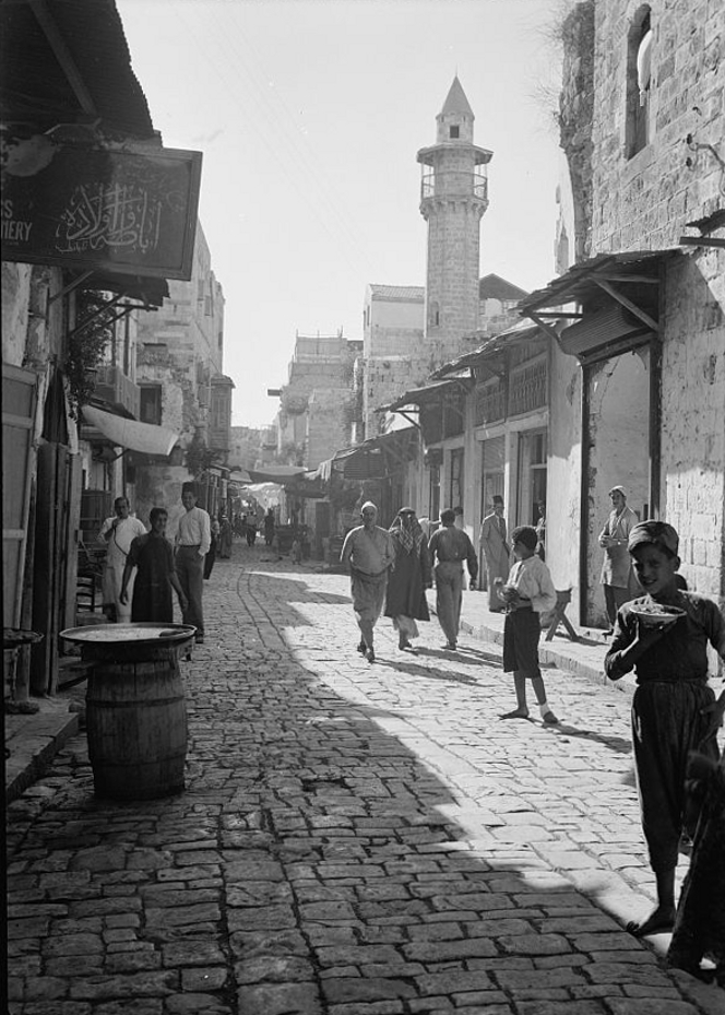 Nablus - نابلس : NABLUS - Street in old town of Nablus & the Great Mosque, 1940 (Matson collection)