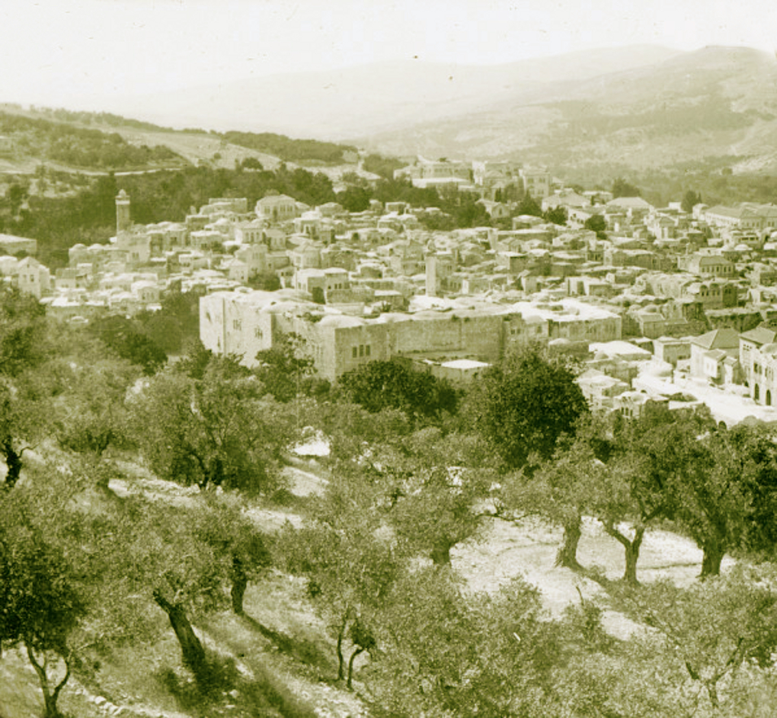 Nablus - نابلس : NABLUS - Late 19th, early 20th c. 62 - General view of Nablus and Mt. Gerizim