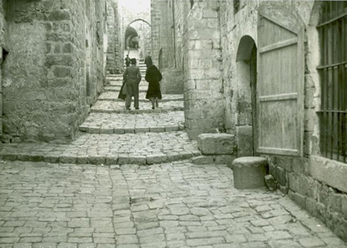 Nablus - نابلس : NABLUS - Late 19th, early 20th c. 71 - A medieval street in Nablus