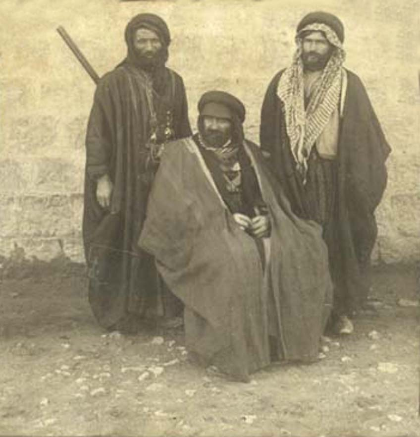 Nablus - نابلس : NABLUS - Late 19th, early 20th c. 74 - A group of Arab men from Nablus in traditional dress (Abayas), circa 1890s