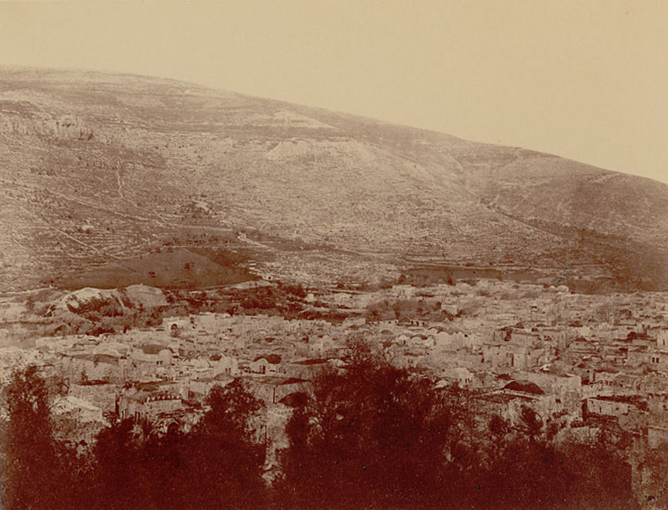 Nablus - نابلس : NABLUS - Late 19th, early 20th c. 79 - Bird's-eye view taken from the west