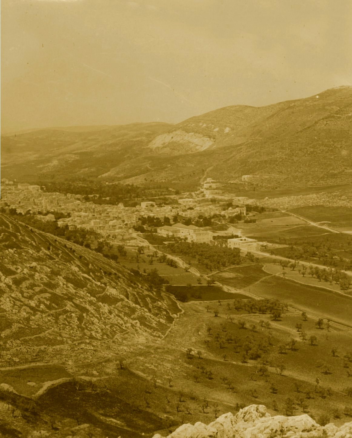 Nablus - نابلس : NABLUS - Late 19th, early 20th c. 82 - The valley and city of Nablus from Mt. Gerizim, circa 1890s (Per Reem Ackall)