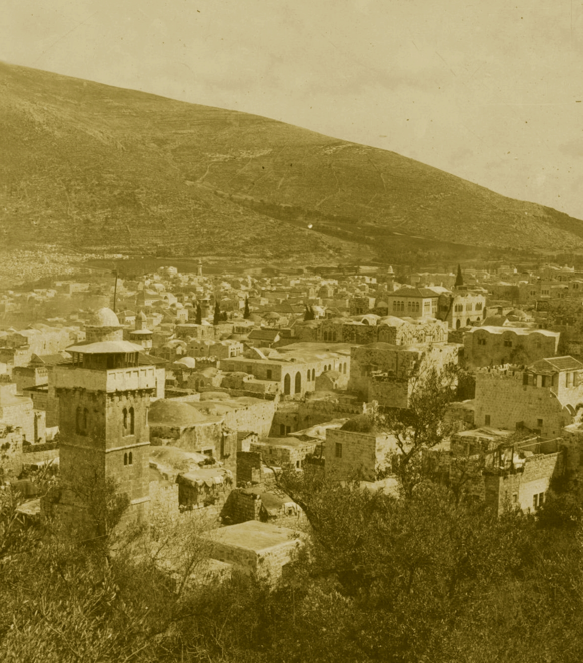 Nablus - نابلس : NABLUS - Late 19th, early 20th c. 83 - Nablus nestling in it's valley (High Res.)