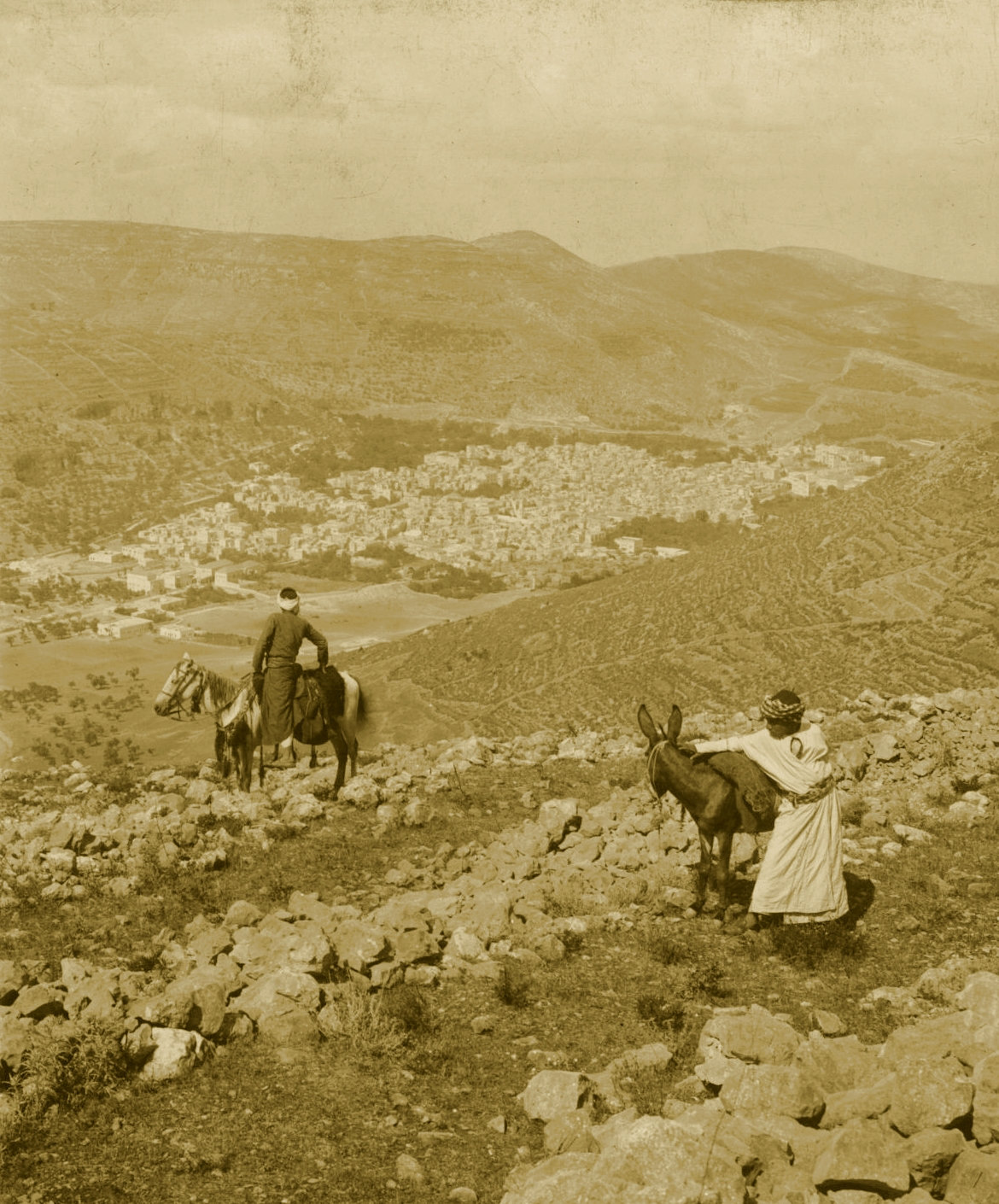 Nablus - نابلس : NABLUS - Late 19th, early 20th c. 90 - Looking south-west from Ebal