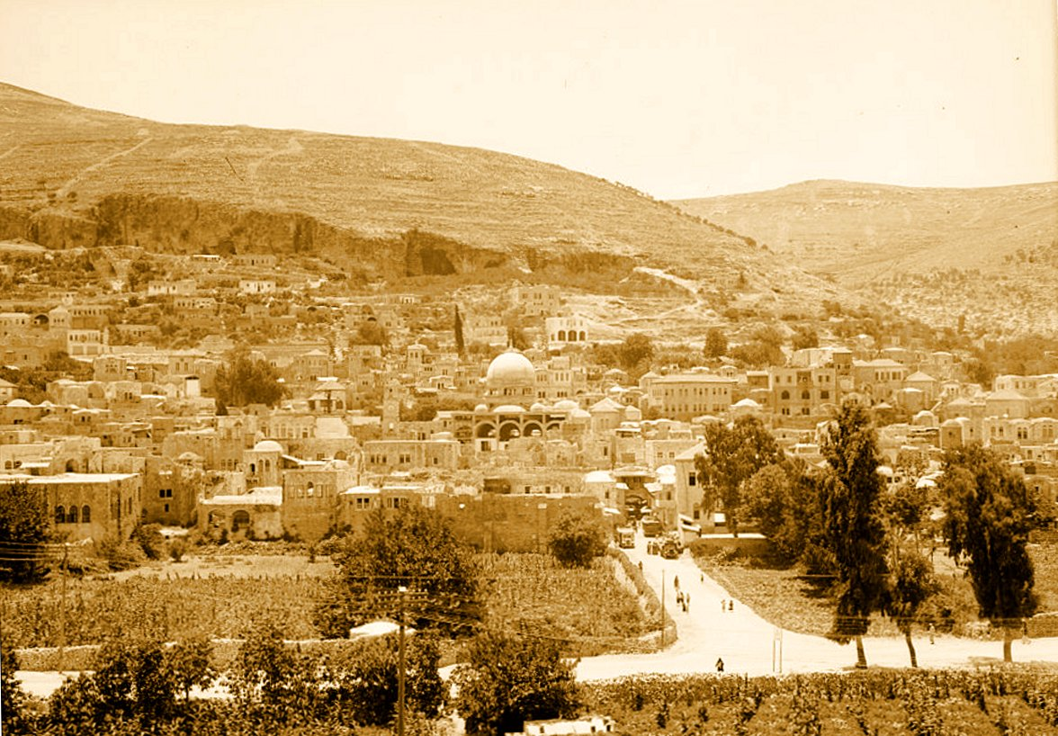 Nablus - نابلس : NABLUS - View of Nablus, showing Mt. Gerizim in background 1938 (Matson Collection)