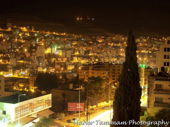 Nablus - نابلس : Nablus at Night by Maher Tammam