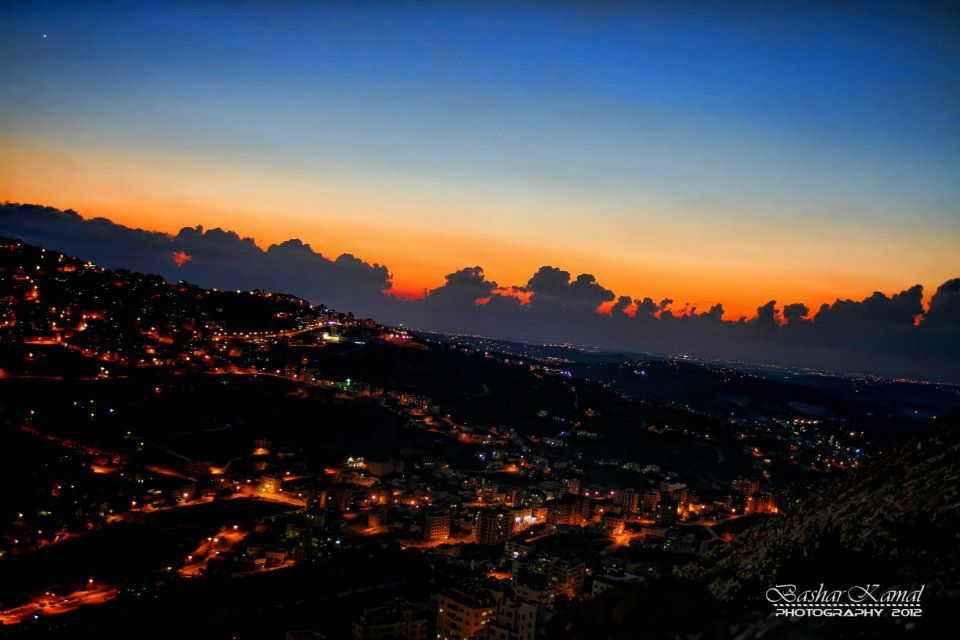 Nablus - نابلس : Nablus with the Clouds at Night