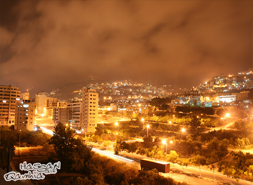 Nablus - نابلس : 2 Nablus at Night by Hasan Qamhia