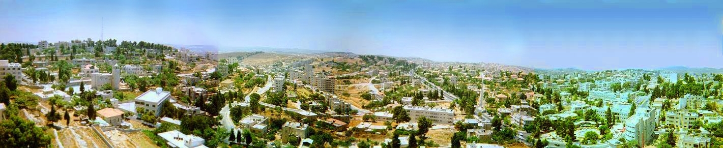 Ramallah - رام الله : Panoramic view of ramallah (From the Lower Town towards Al Masyoon), courtesy of Ramallah Federation