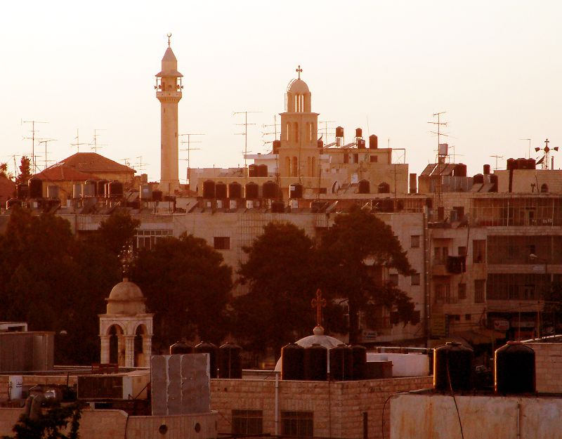 Ramallah - رام الله : A general view of the Old City at sunset