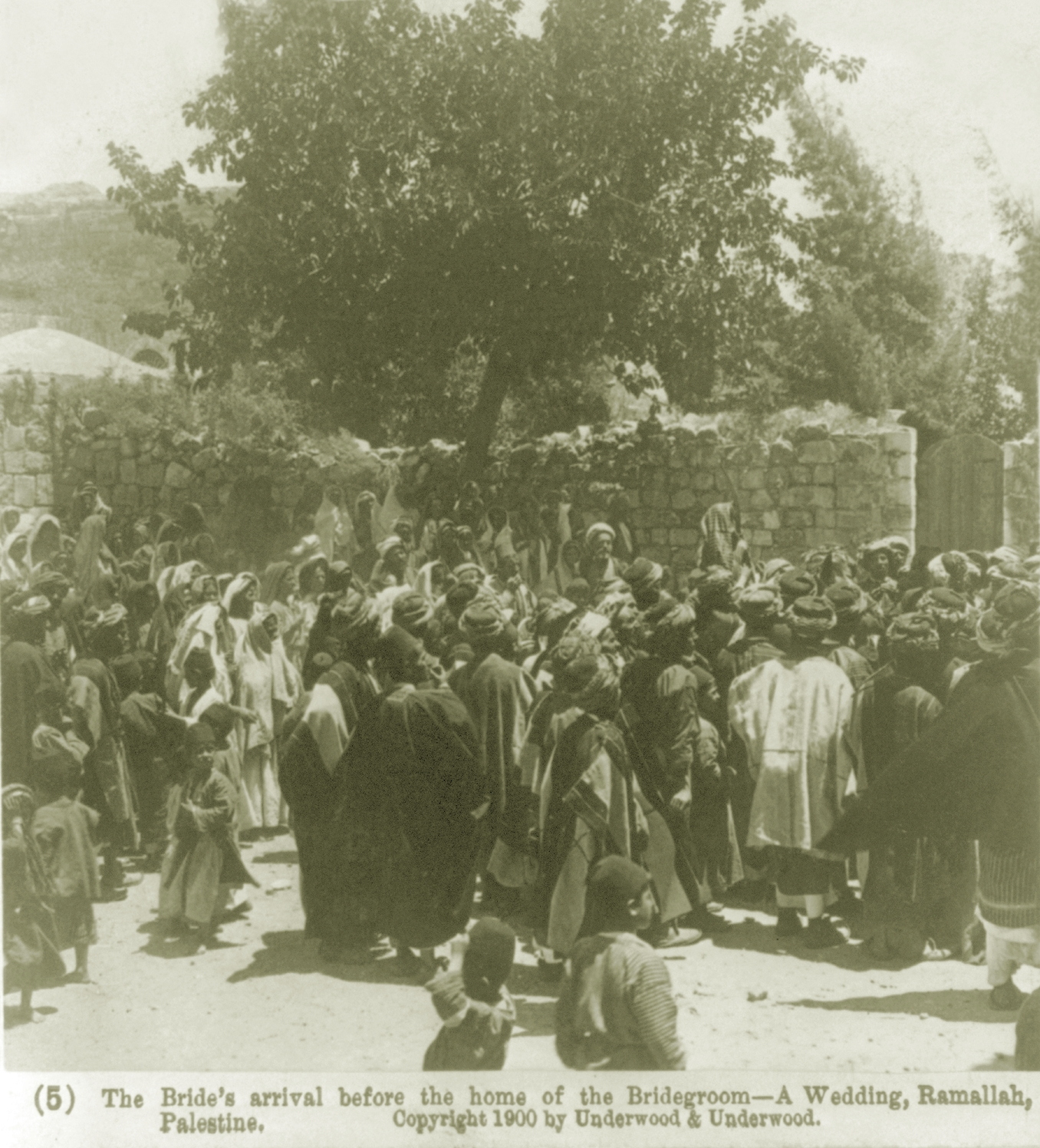 Ramallah - رام الله : A WEDDING AT RAMALLAH, PALESTINE (ca. 1900) - The bride's arrival before the home of the bridegroom