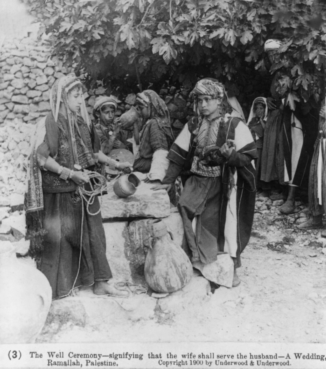 Ramallah - رام الله : A WEDDING AT RAMALLAH, PALESTINE (ca. 1900) - The well ceremony - signifying that the wife shall serve the husbandzz