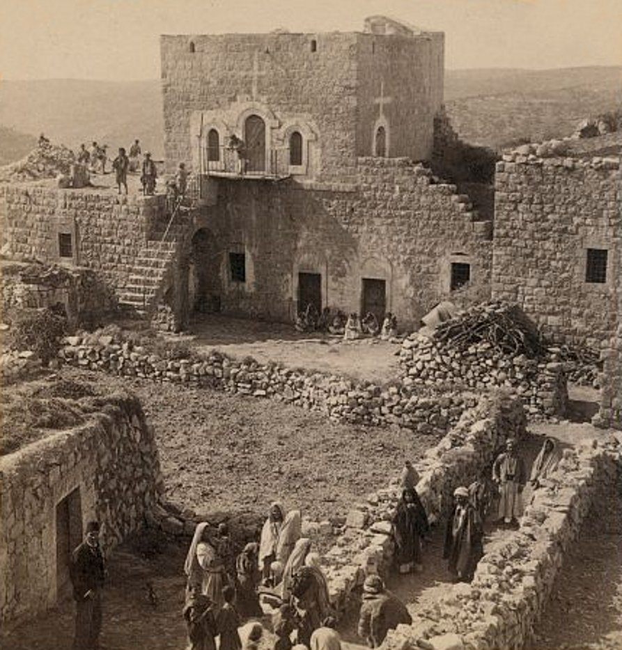 Ramallah - رام الله : A Palestinian Arab  home in Ramallah with its guest-chamber, the large upper room - 1900
