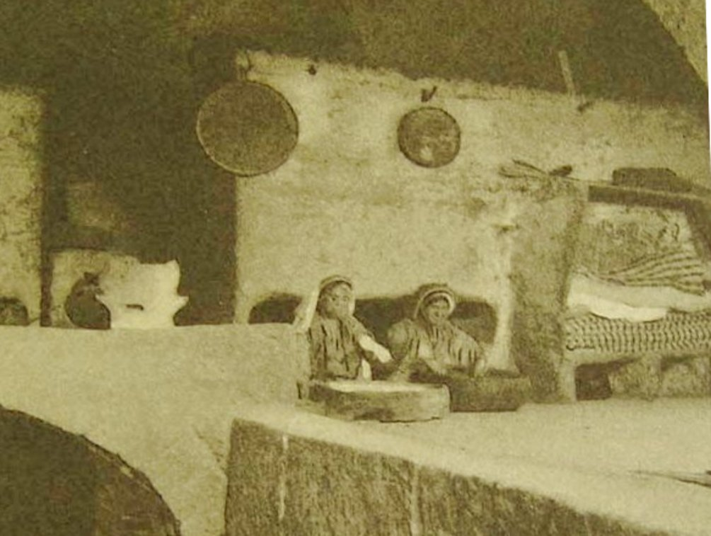 Ramallah - رام الله : RAMALLAH - Two Palestinian women doing some house-work (Kneading, Maftool, washing, ???) Late 19th c. - Came across same picture placing location in Nazareth ?