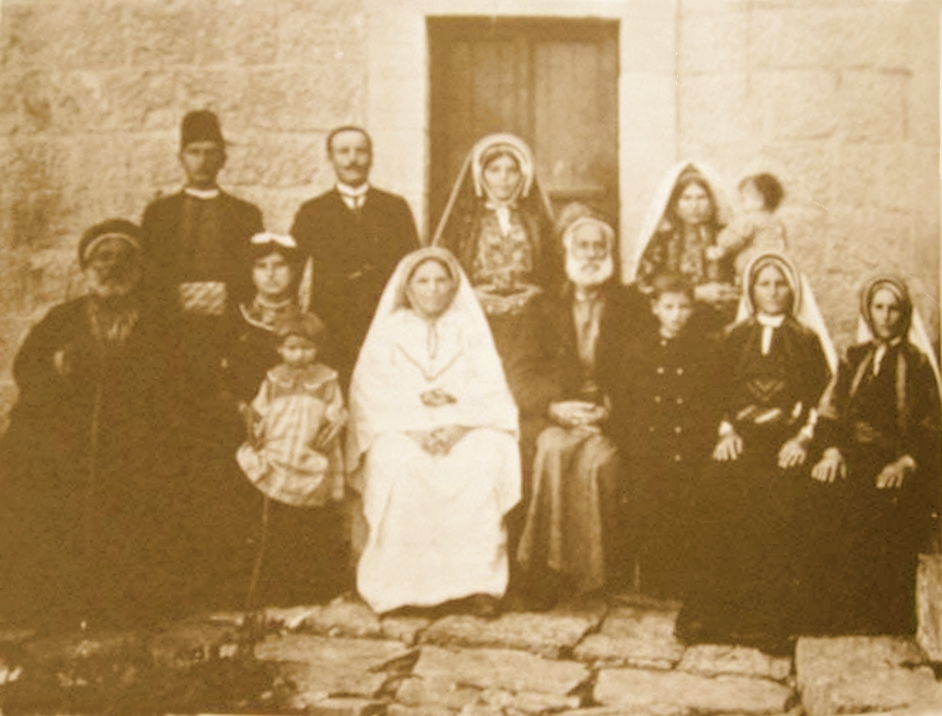 Ramallah - رام الله : Three generations of a Ramallah family, 1905-10, Palestine - (Ramallah: Its History and its Genealogies, 1982 - by Azeez Shaheen)
