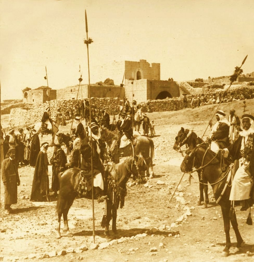 Ramallah - رام الله : RAMALLAH - Arab tribesmen of Palestine visiting the villages in the area between Jerusalem and Ramallah (exact location unspecified), circa 1900 - B