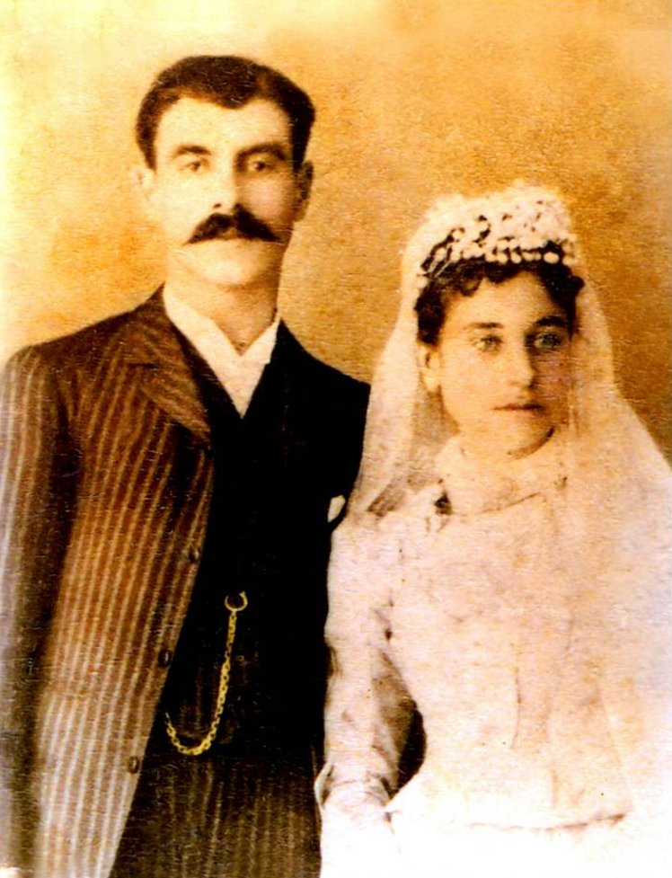 Ramallah - رام الله : RAMALLAH - The wedding picture of Elias Audi Debeeney and Emily Aroumoanie, 1890. Elias eventually became the first mayor of Ramallah (Birzeit University Palestine Archive Project)