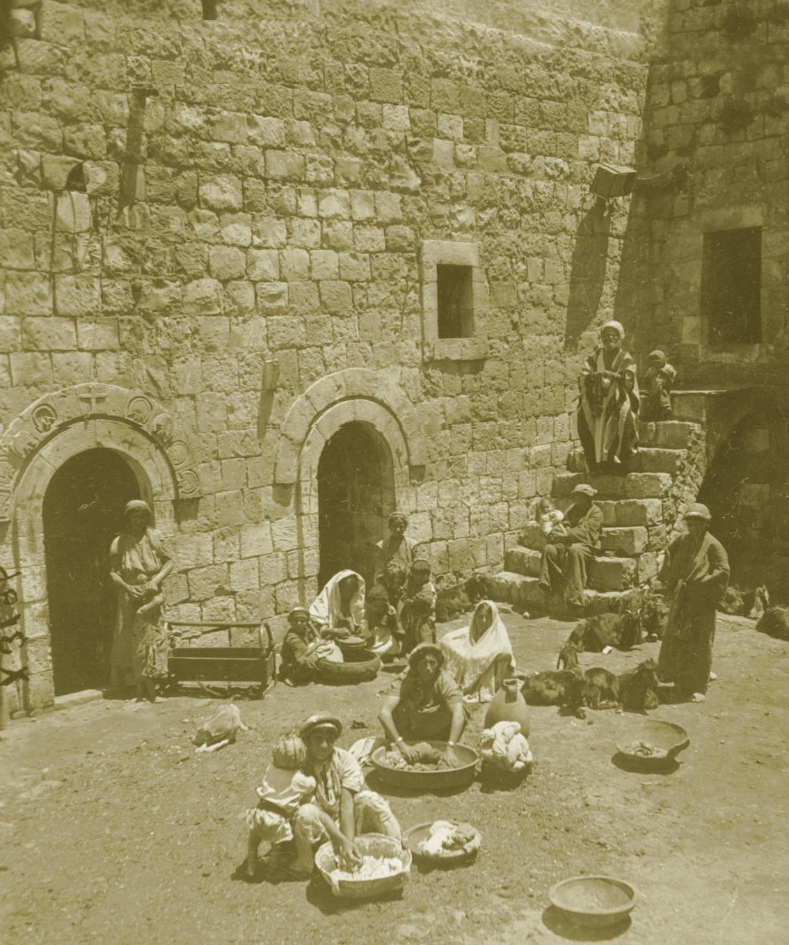 Ramallah - رام الله : RAMALLAH - Washing day in courtyard of a house in Ramallah (Could possibly be in Cana of Galilee - Kufr Kanna), circa 1900s