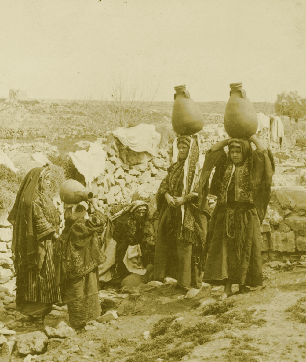Ramallah - رام الله : RAMALLAH - The water carriers at a local spring, circa 1890s  - Keystone-Mast Collection (Per Reem Ackall)